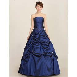 Formal Evening Dress Royal Blue Plus Sizes Ball Gown Strapless Ankle Length Satin
