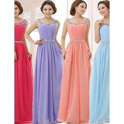Formal Evening Dress - Fuchsia / Lavender / Pool / Watermelon Plus Sizes / Petite A-line Scoop Floor-length Chiffon