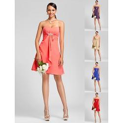 Knee Length Chiffon Bridesmaid Dress Watermelon Royal Blue Ruby Champagne Grape Plus Sizes Petite A Line PrincessSweetheart