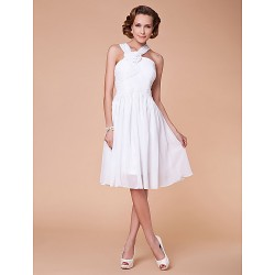 A-line Plus Sizes / Petite Mother of the Bride Dress - White Knee-length Sleeveless Chiffon