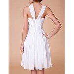 A-line Plus Sizes / Petite Mother of the Bride Dress - White Knee-length Sleeveless Chiffon Mother Of The Bride Dresses