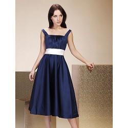 Tea Length Satin Bridesmaid Dress Dark Navy Plus Sizes Petite A Line Princess Straps Square