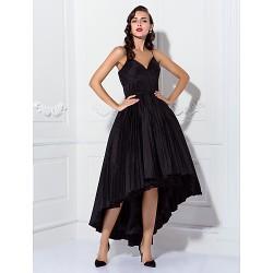 Cocktail Party Prom Dress Black Plus Sizes Petite Ball Gown Spaghetti Straps Asymmetrical Taffeta