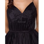 TS Couture Cocktail Party / Prom Dress - Black Plus Sizes / Petite Ball Gown Spaghetti Straps Asymmetrical Taffeta Special Occasion Dresses