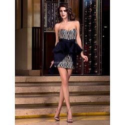 Cocktail Party / Holiday / Prom Dress - Black Plus Sizes / Petite Sheath/Column Sweetheart Short/Mini Satin