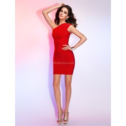Cocktail Party Holiday Dress Ruby Petite Sheath Column One Shoulder Short Mini Rayon
