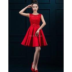 Cocktail Party Dress - Ruby / Burgundy / Royal Blue Plus Sizes A-line Jewel Short/Mini Lace / Satin