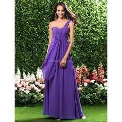 Floor-length Chiffon Bridesmaid Dress - Regency Plus Sizes / Petite Sheath/Column One Shoulder