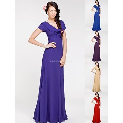 Floor Length Georgette Bridesmaid Dress Regency Royal Blue Ruby Champagne Grape Plus Sizes Petite Sheath Column Cowl