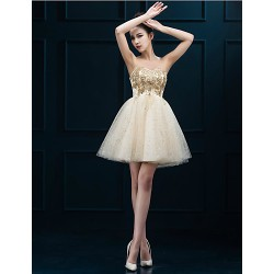 Cocktail Party Dress - Gold Plus Sizes A-line Sweetheart Short/Mini Tulle
