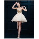 Cocktail Party Dress - Gold Plus Sizes A-line Sweetheart Short/Mini Tulle Special Occasion Dresses