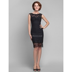 Sheath/Column Plus Sizes / Petite Mother of the Bride Dress - Black Knee-length Sleeveless Chiffon / Tulle