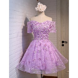 Formal Evening Dress - Lavender A-line Off-the-shoulder Knee-length Lace / Satin