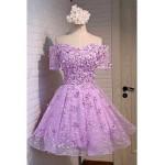 Formal Evening Dress - Lavender A-line Off-the-shoulder Knee-length Lace / Satin Special Occasion Dresses