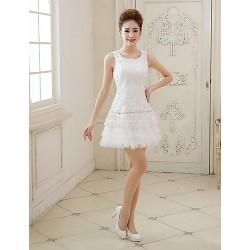 Cocktail Party Dress - Ivory Plus Sizes Sheath/Column Jewel Short/Mini Tulle