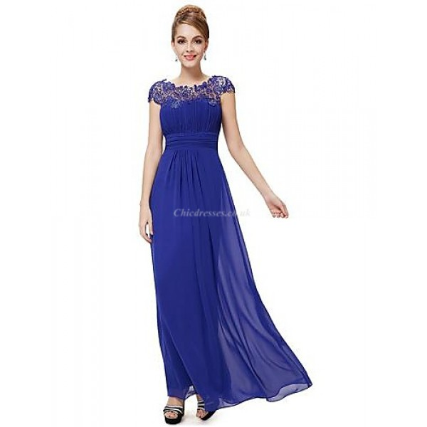 Formal Evening Dress - Royal Blue / Black / Grape / Ruby Plus Sizes A-line Jewel Floor-length Chiffon Special Occasion Dresses