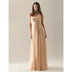 Floor-length Chiffon Bridesmaid Dress - Ruby / Grape / Royal Blue / Champagne Plus Sizes / Petite A-line Halter
