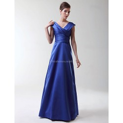 Floor Length Stretch Satin Bridesmaid Dress Royal Blue Plus Sizes Petite A Line Princess V Neck