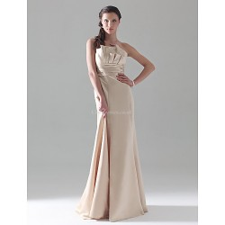 Floor Length Satin Bridesmaid Dress Champagne Plus Sizes Petite A Line Princess Trumpet Mermaid Strapless