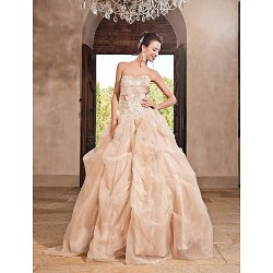 Prom / Formal Evening / Quinceanera / Sweet 16 Dress - Champagne Plus Sizes / Petite Princess / A-line / Ball Gown Sweetheart / Strapless