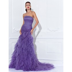 Prom Formal Evening Dress Regency Plus Sizes Petite Trumpet Mermaid Strapless Court Train Tulle