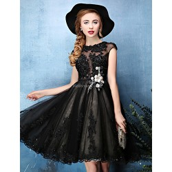 Cocktail Party Dress Black A Line Jewel Knee Length Lace Tulle