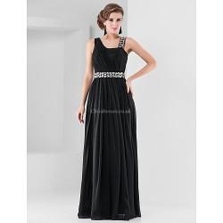 Formal Evening Military Ball Dress Black Plus Sizes Petite Sheath Column Straps Floor Length Chiffon