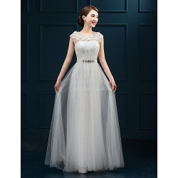 Formal Evening Dress - White Plus Sizes A-line Jewel Floor-length Lace