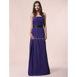 Floor Length Chiffon Bridesmaid Dress Regency Plus Sizes Petite A Line Princess Strapless
