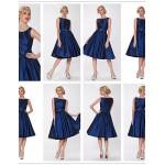 Cocktail Party Dress - Daffodil / Burgundy / Light Sky Blue / Clover / Purple / Ink Blue Plus Sizes A-line Bateau Knee-length Taffeta Special Occasion Dresses