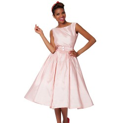Cocktail Party Dress Blushing Pink Plus Sizes A Line Bateau Knee Length Taffeta