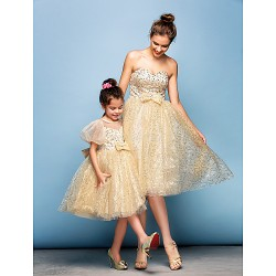 Cocktail Party Dress Champagne Plus Sizes Petite Ball Gown Sweetheart Knee Length Sequined
