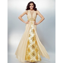 Formal Evening Dress - Champagne Plus Sizes / Petite A-line Jewel Floor-length Chiffon / Lace
