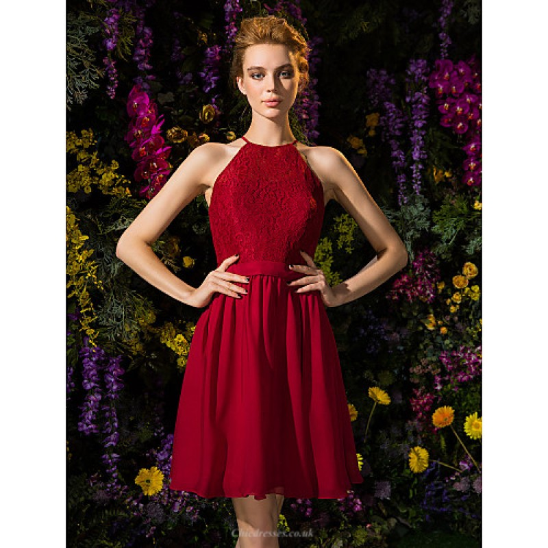 Knee Length Chiffon Lace Bridesmaid Dress Burgundy