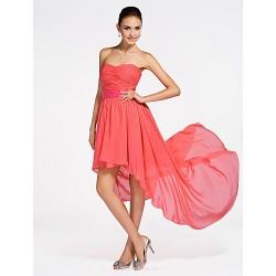 Asymmetrical / Short/Mini Chiffon Bridesmaid Dress - Watermelon Plus Sizes / Petite A-line / Princess Strapless / Sweetheart