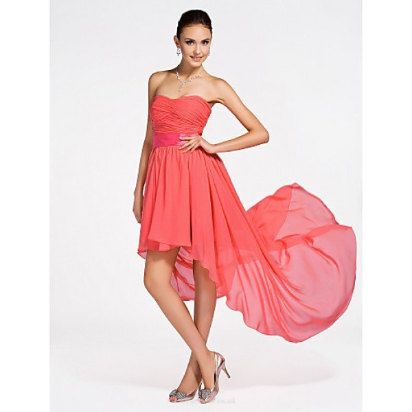 Asymmetrical / Short/Mini Chiffon Bridesmaid Dress - Watermelon Plus Sizes / Petite A-line / Princess Strapless / Sweetheart Special Occasion Dresses
