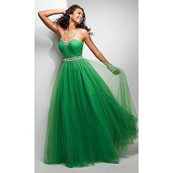 Formal Evening Dress - Ruby / Dark Green Plus Sizes / Petite A-line Spaghetti Straps Floor-length Chiffon