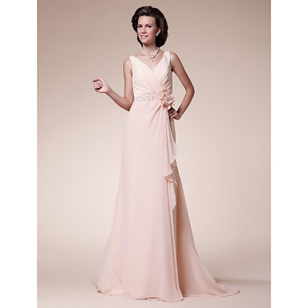 A-line Plus Sizes / Petite Mother of the Bride Dress - Pearl Pink Sweep/Brush Train Sleeveless Chiffon Mother Of The Bride Dresses