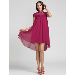 Asymmetrical Chiffon Bridesmaid Dress - Fuchsia Plus Sizes / Petite Sheath/Column High Neck
