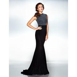 Formal Evening Dress Black Plus Sizes Petite Trumpet Mermaid Jewel Sweep Brush Train Jersey