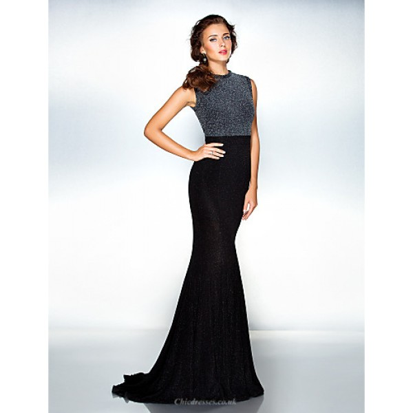 TS Couture Formal Evening Dress - Black Plus Sizes / Petite Trumpet/Mermaid Jewel Sweep/Brush Train Jersey Special Occasion Dresses