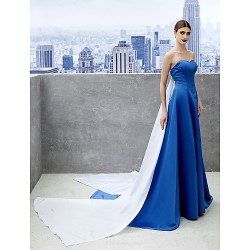 Formal Evening Dress Royal Blue A Line Sweetheart Chapel Train Satin