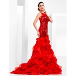TS Couture Prom / Formal Evening Dress - Ruby Plus Sizes / Petite Trumpet/Mermaid Bateau Court Train Sequined / Organza Special Occasion Dresses