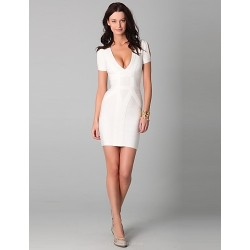 Cocktail Party Dress - Ivory Petite Sheath/Column V-neck Short/Mini Spandex / Rayon / Nylon Taffeta