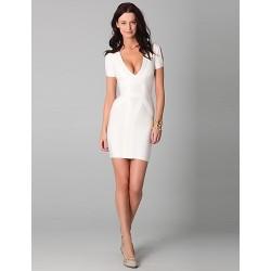 Cocktail Party Dress Ivory Petite Sheath Column V Neck Short Mini Spandex Rayon Nylon Taffeta