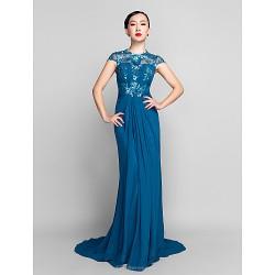 Formal Evening Military Ball Dress Ink Blue Plus Sizes Petite Sheath Column Jewel Sweep Brush Train Chiffon Sequined