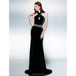 Formal Evening Dress Dark Green Plus Sizes Petite Trumpet Mermaid Halter Court Train Velvet