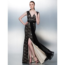 Homecoming Prom Formal Evening Dress Champagne Plus Sizes Petite Sheath Column V Neck Floor Length Lace