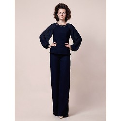 Sheath/Column Plus Sizes / Petite Mother of the Bride Dress - Dark Navy Floor-length Long Sleeve Chiffon