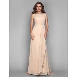 Formal Evening / Military Ball Dress - Champagne Plus Sizes / Petite Sheath/Column Bateau Sweep/Brush Train Chiffon